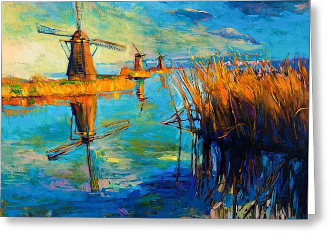 Windmills By Ivailo Nikolov Greeting Card by Boyan Dimitrov