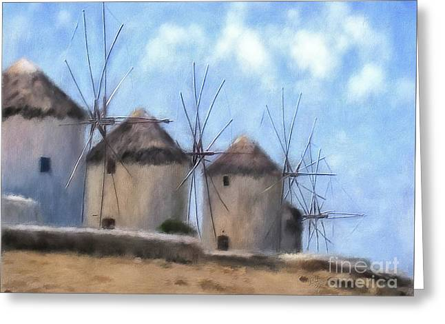 Windmills Of Mykonos Greeting Card by Lois Bryan