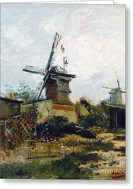 Vintage Painter Greeting Cards - Windmills Greeting Card by Van Gogh