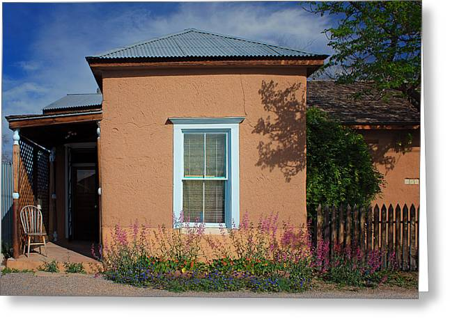 Tin Roof Greeting Cards - Window and Flowers - Barrio Historico - Tucson Greeting Card by Nikolyn McDonald