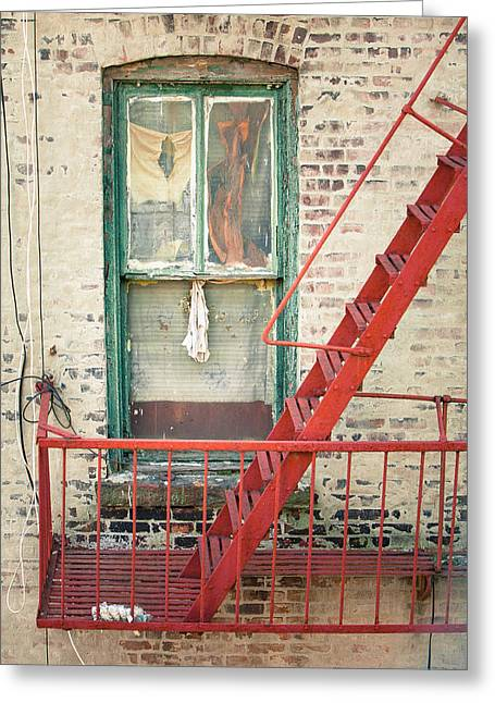 Manhatan Greeting Cards - Window and red fire escape Greeting Card by Gary Heller