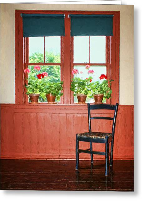 Ladder Back Chairs Greeting Cards - Window - Chair - Geraniums Greeting Card by Nikolyn McDonald