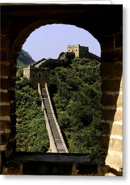 Culture Influenced Art Greeting Cards - Window Great Wall Greeting Card by Bill Bachmann - Printscapes
