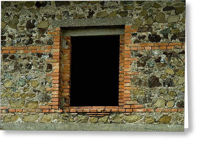 Chianti Greeting Cards - Window In The Wall Around Brolio Castle Greeting Card by Todd Gipstein