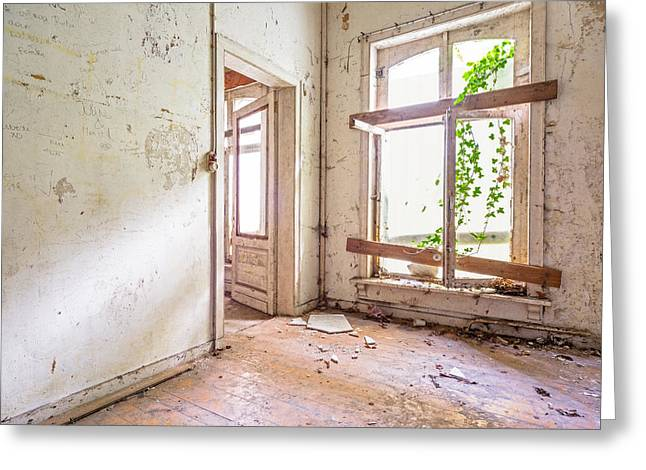 Abandoned Houses Greeting Cards - Window Light Nature Enters - Urban Exploration Greeting Card by Dirk Ercken