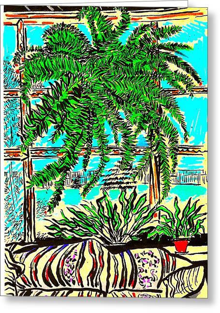 Booze Drawings Greeting Cards - Window Loving Fern Greeting Card by Al Goldfarb