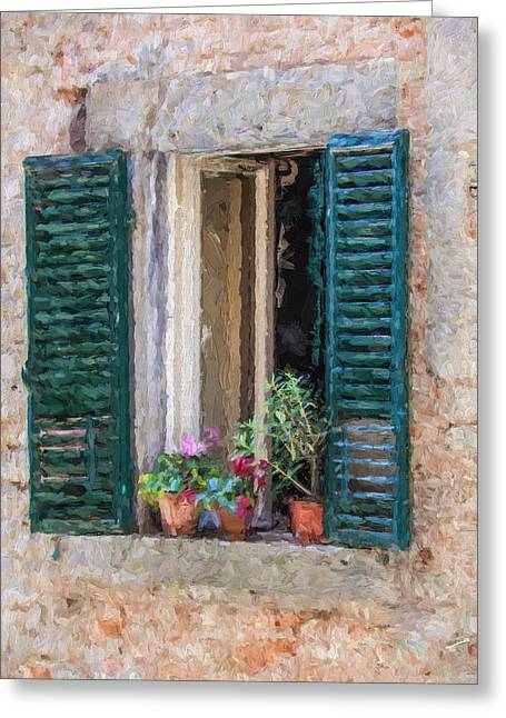 Italian Kitchen Greeting Cards - Window of Cortona Greeting Card by David Letts