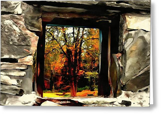 Window Of Hope - Stone Wall Window View Greeting Card by Janine Riley