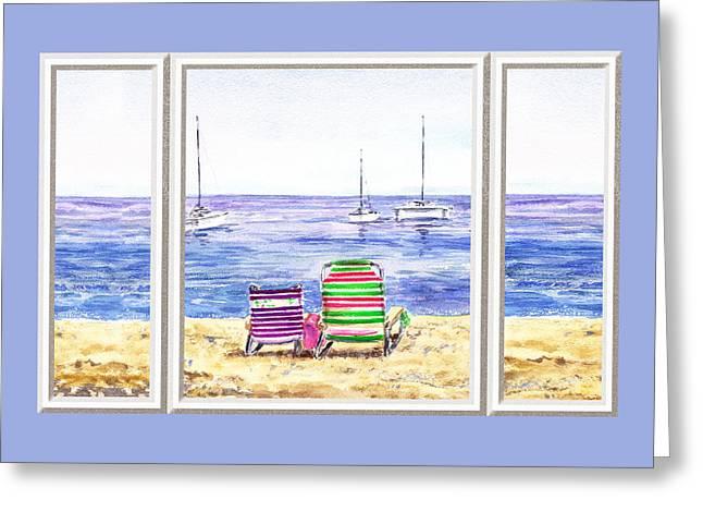 Beach Theme Decorating Greeting Cards - Window Of The Beach House Greeting Card by Irina Sztukowski