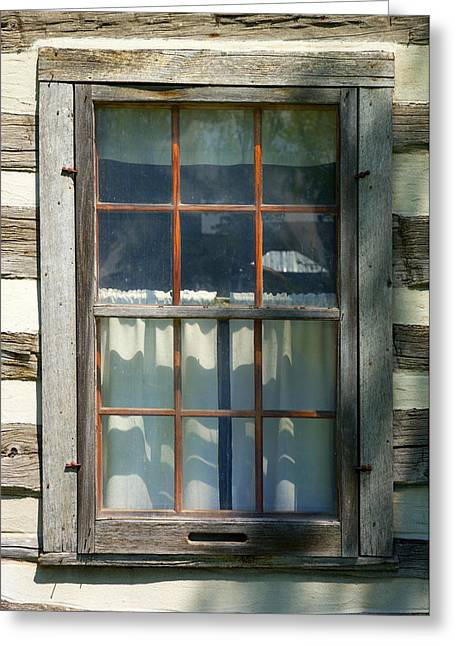 Window On Log Cabin Greeting Card by Donald  Erickson