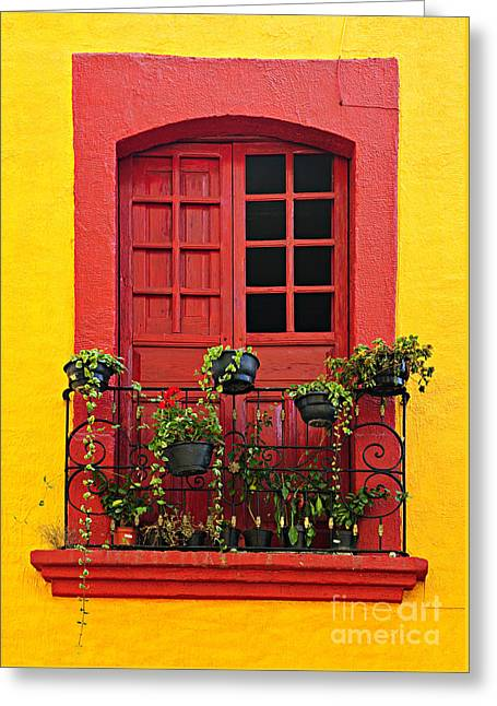 Window Panes Greeting Cards - Window on Mexican house Greeting Card by Elena Elisseeva