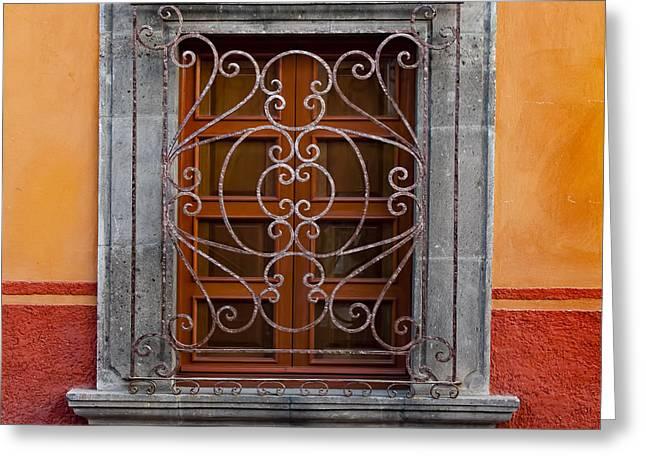 Window On Orange Wall San Miguel De Allende Greeting Card by Carol Leigh