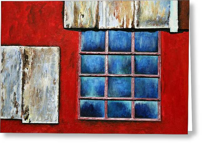Red Abstract Reliefs Greeting Cards - Window On Red Greeting Card by Bill Hughey