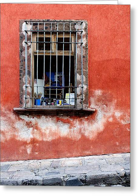 Greeting Cards - Window on Red Wall San Miguel de Allende, Mexico Greeting Card by Carol Leigh