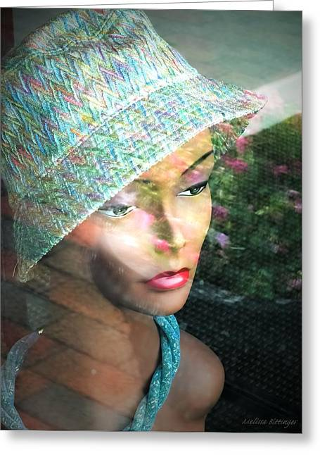 Store Fronts Greeting Cards - Window Reflection Store Mannequin Pink Teal Greeting Card by Melissa Bittinger
