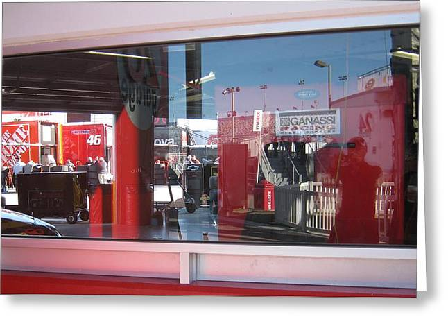 Nascar Digital Greeting Cards - Window Reflections at the Speedway Greeting Card by Jamie Baldwin