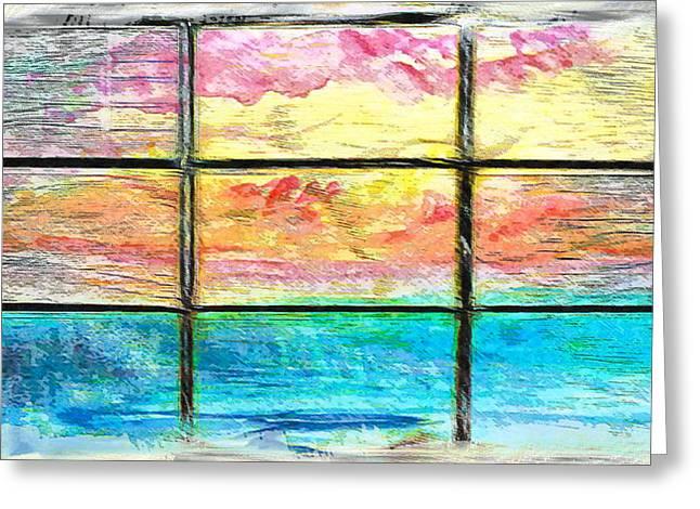 Window Scene Abstract Greeting Card by Tom Gowanlock