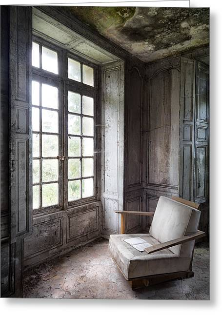 Abandoned Places Greeting Cards - Window Seat - Abandoned Building Greeting Card by Dirk Ercken