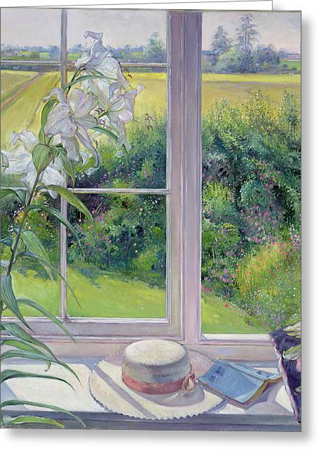 Window Seat And Lily Greeting Card by Timothy Easton
