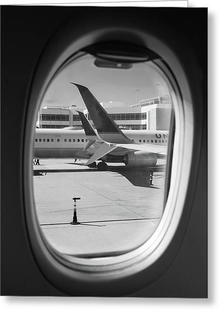 Window Seat Denver B W Greeting Card by Steve Gadomski