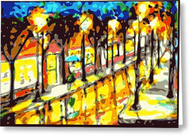 Walking Down The Street Greeting Cards - Window shopping original sold prints available. Greeting Card by Larry E Lamb