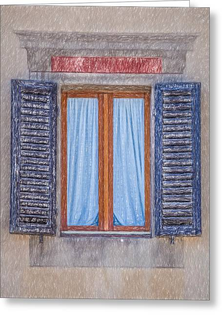 Tuscan Hills Drawings Greeting Cards - Window Sketch of Tuscany Greeting Card by David Letts