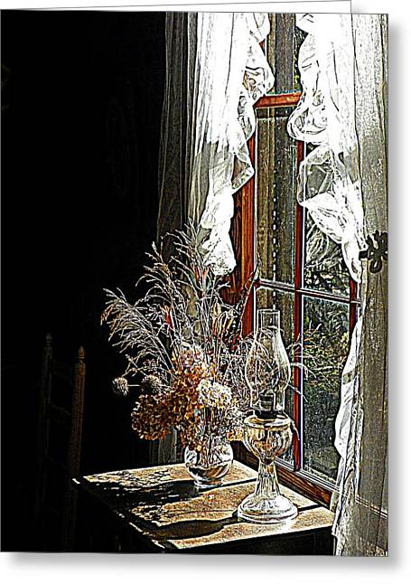 Oil Lamp Digital Greeting Cards - Window Sunshine 2 Greeting Card by Sheri McLeroy