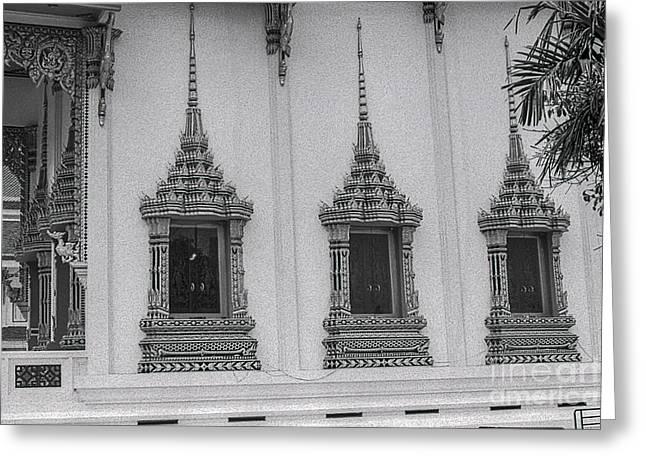 Decorate Pyrography Greeting Cards - WINDOWS THAI TEMPLE-FOMAPAN 100 ISO-Nikon  FM2n LENS 50MM 1.4 AI-S  Greeting Card by Nicholas  Allaniaris