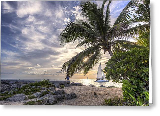Sailboat Art Greeting Cards - Window to a Key West Sunset Greeting Card by Rachel Cash