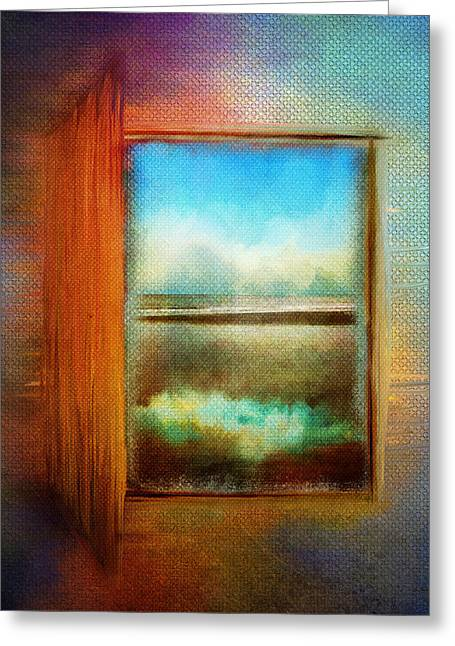 Abstract Waves Greeting Cards - Window to Anywhere Greeting Card by Christina VanGinkel