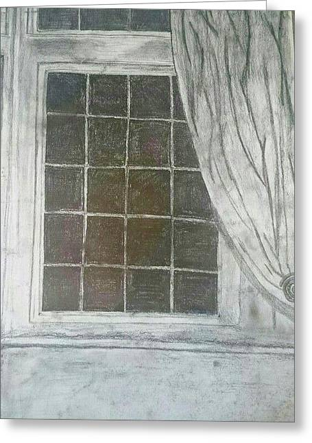 Ledge Drawings Greeting Cards - Window To The Night Greeting Card by Georgie Pearson