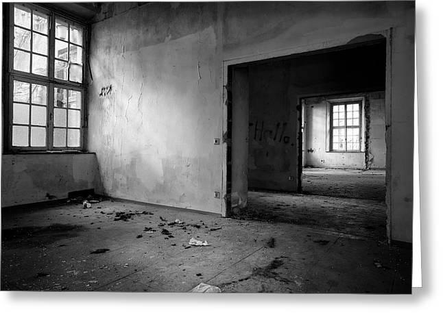 Window To Window - Abandoned School Building Bw Greeting Card by Dirk Ercken