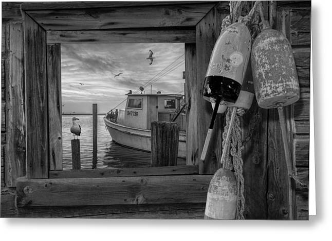 Water Vessels Greeting Cards - Window View of Early Morning Harbor Greeting Card by Randall Nyhof