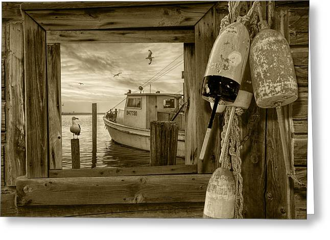 Water Vessels Greeting Cards - Window View of the Harbor at Morning in Sepia Greeting Card by Randall Nyhof