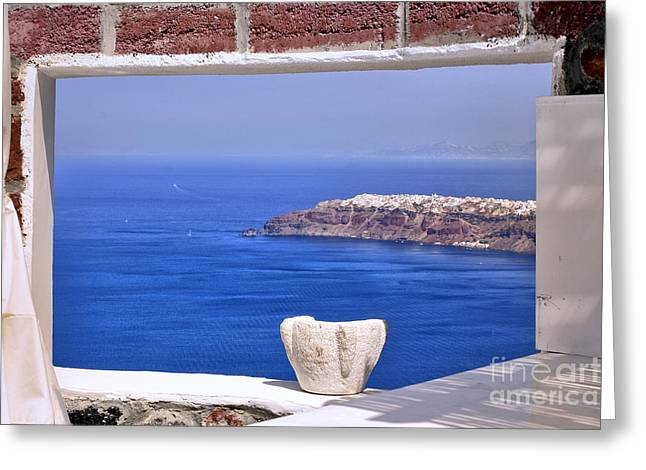 Madeline Ellis Greeting Cards - Window View to the Mediterranean Greeting Card by Madeline Ellis