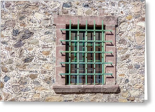 Bar San Miguel Greeting Cards - Window with Bars and Stone Wall Greeting Card by Douglas J Fisher