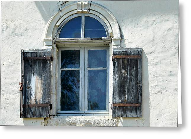 Wooden Shutter Greeting Cards - Window with Shutters Greeting Card by Marion McCristall