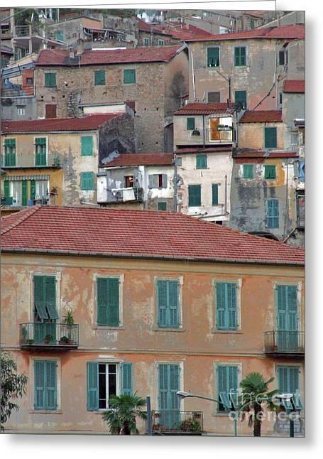 Italian Riveria Greeting Cards - Windows and Doors Greeting Card by Karen Lewis