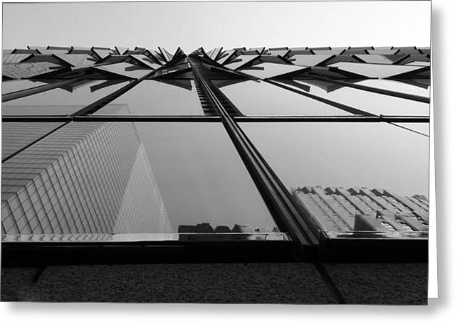 Windows And Reflections Of One W T C  B W Greeting Card by Rob Hans