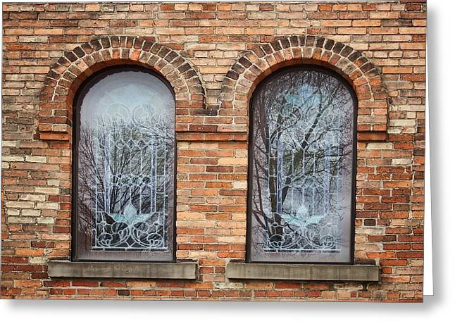 Windows - First Congregational Church - Jackson - Michigan Greeting Card by Nikolyn McDonald