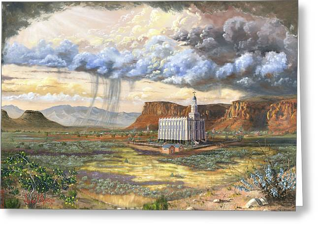 Sun Rays Paintings Greeting Cards - Windows of Heaven Greeting Card by Jeff Brimley