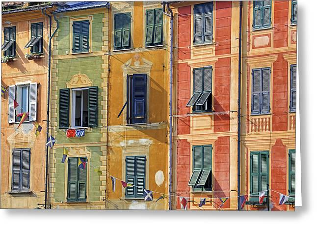 High Society Photographs Greeting Cards - Windows of Portofino Greeting Card by Joana Kruse