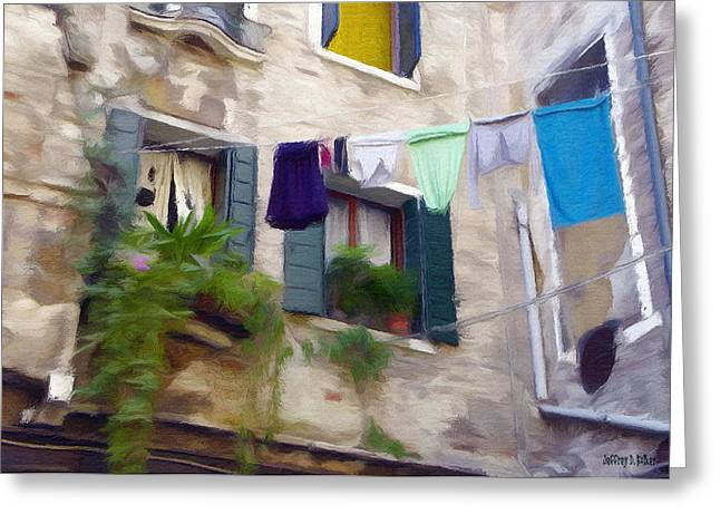 Hanging Greeting Cards - Windows of Venice Greeting Card by Jeff Kolker