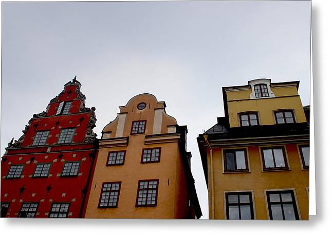 Sweden Greeting Cards - Windows on Gamla Stan Greeting Card by Linda Woods