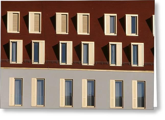 Windows On Swissotel Greeting Card by Miroslav Nemecek