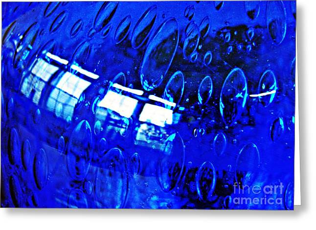 Glass Reflecting Greeting Cards - Windows Reflected on a Blue Bowl 3 Greeting Card by Sarah Loft