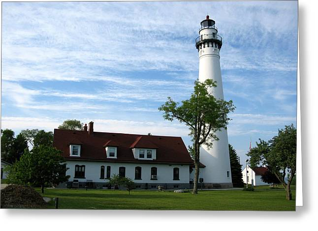 Historic Site Greeting Cards - Windpoint Lighthouse 2 Greeting Card by Cindy Kellogg