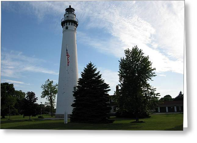 Historic Site Greeting Cards - Windpoint Lighthouse 3 Greeting Card by Cindy Kellogg