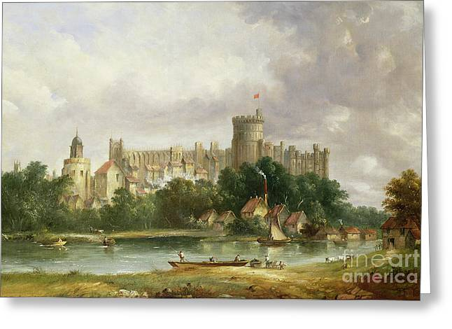 Fortress Greeting Cards - Windsor Castle - from the Thames Greeting Card by Alfred Vickers
