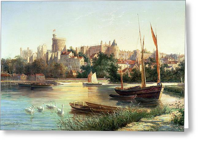 Windsor from the Thames   Greeting Card by Robert W Marshall